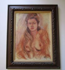 ALAN SIGNED VINTAGE MID CENTURY NUDE PAINTING FEMALE MODEL MODERNISM 1950'S