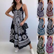 Women Summer Casual Sleeveless Sling A-Line V Neck Floral Loose Long Tank Dress