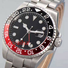 Parnis 40mm Black Red Bezel Sapphire Glass GMT Automatic Date men's Watch