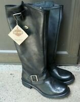 6 Harley Davidson Boots Motorcycle After-Riding Leather D83766 Zip Knee High