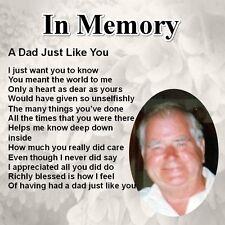 "Personalised Coaster - Dad  Poem "" In Memory"" - Memorial Keepsake + GIFT BOX"