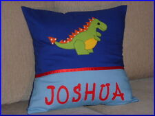 CHILD'S/BOYS PERSONALISED NAME CUSHION COVER/NURSERY/SHOWER/GIFT - DINOSAUR -
