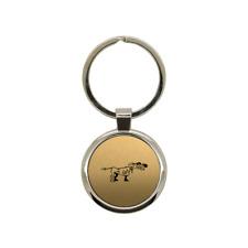Porte clé en métal or brossé Chien de chasse 2 rond gravure laser
