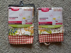 """Lot of 2 NEW  Better Homes & Gardens Gingham & Blooms Valence 60"""" X 14"""" NIP"""