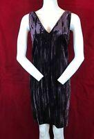FRENCH CONNECTION Purple Velvet Crush Above Knee Length Sleeveless Dress UK 8
