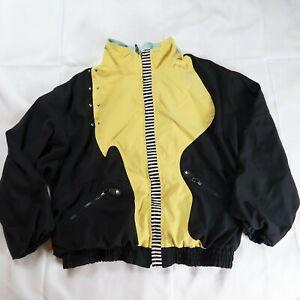 Jamie Sadock Women's Size Medium Full Zip Windbreak Jacket Yellow Black Retro