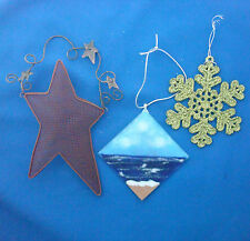 """3 Christmas ornaments 7"""" metal star snowflake stained glass beach scene"""