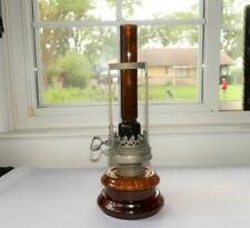 """DRESDEN GERMANY ICA AMBER GLASS ADJUSTABLE OIL LAMP 12 1/2"""" TALL"""