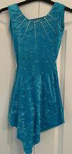 Ice Skating Roller Dance Handmade Leotard Dress Turquoise Blue Size Teen 8 10