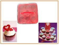 Cupcake Holder Set – Red Plastic - NO BPA - Cupcake 9 Piece Carrier With Stand