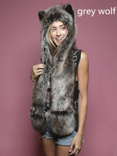 Faux Fur Animal Grey Wolf Ears Hat Gloves Mittens Long Scarf Snood Hood Paws