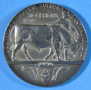 1930 Art Deco Stockholm Sweden Gustaf V Agriculture Silver Medal Erik Lindberg