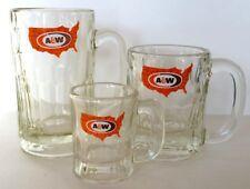 "1960's A&W, Heavy Glass Mug Set, Papa,6"" tall, Mama 4½"" & Baby 3½"". Prism Cut"