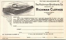 Business Reply Postcard NJ Manasquan Ad for The Richman Brothers Co. 1930s M33