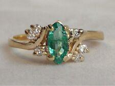 4K Brazilian Emerald & Diamond Ring 1/2Ct Marquise & Round Sz 6.5