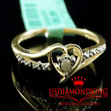 Ladies Women's .02ct Genuine Real Diamond Yellow Gold Finish Heart Promise Ring