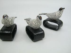 """3 pcs Ceramic Bird Napkin Rings Black White w/ Red Eyes 3 1/2"""" Made in Guatemala"""