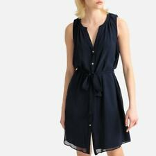 Naf Naf Womens Blouse-Dress Button Down Navy Chiffon UK 6 New Tags RRP £46
