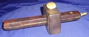 BM050 Antique Carpenters Wooden Wood Marking Gauge w/ Brass