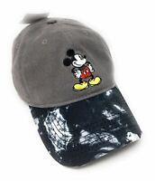 Disney Mickey Mouse 90th Anniversary Tie Dye Baseball Hat Cap - Grey Black