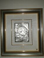 Quadro In Argento Madonna Con Bambino Cornice In Legno E Vetro 39x43 unico
