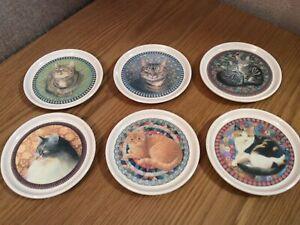 Set of 6 Vintage Cloverleaf Melamine Hard Plastic Lesley Anne Ivory Cat Coasters