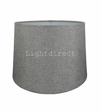 Grey Linen Weave Effect Lampshade For Ceiling Or Table Lamp 12 Inch Shade