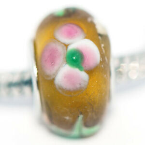 1x Flower Lampwork Murano Glass Bead Charms Spacer Fit Eupropean Chain Bracelet