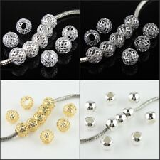10pcs Silver Gold Mash Net Round Ball Big Hole Spacer European Charm Beads 10mm