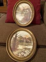 2 Vintage Oval Framed Prints Retro 1983 Homco Wall Art Country Scene
