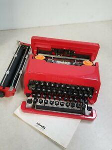 Olivetti Valentine Typewriter w/ Case Red RARE Vintage Good condition Boxed