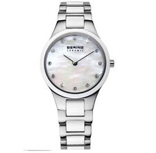 NEW  Bering Lds White Ceramic bracelet watch crystal set MOP dial 32327-701 £199