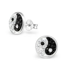 Pair 925 Sterling Silver Crystal Yin Yang Logo Ear Studs Earrings Boys ying (S15