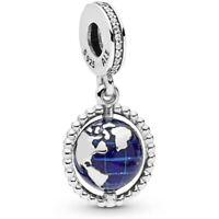Genuine Pandora Silver Spinning Globe Dangle Charm 798021CZ Around The World NEW