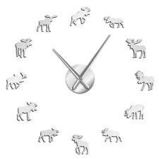 Wildlife Moose DIY Giant Wall Clock Moose Silhouette Decorative Frameless Watch