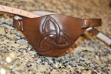 Leather eye patch Celtic triad - adjustable with buckle - good for permanent use
