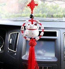 Maneki Neko Lucky Fortune Cat Fengshui Pendant Red Beading Ring Home Car Decor ~