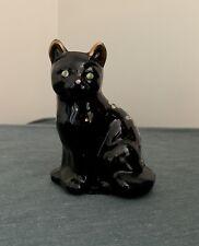 "Fenton 4"" Black Hand Painted Flower Sitting Cat Signed K. Lauderman"