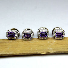 925 Solid Silver Natural Amethyst Cuff Men's Beautiful Formal Cuff Button CL-007