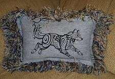 Hippie, Bohemian Blackwork Wolf Denim Jean Pillow Gypsy,Upcycled, Shabby