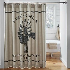 Farmhouse Windmill Shower Curtain Tan Cotton Chambray Country Store Sawyer Mill