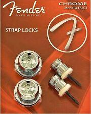 Los botones de correa de bloqueo Fender Straplocks-Cromo