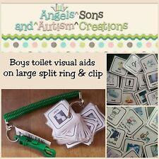 Boy's toilette Visual cartes sur Anneau Fendu & Clip-Autisme/non verbale/DMPS/Sen