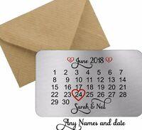 Personalised valentines day Date Keepsake metal wallet card love gift couple