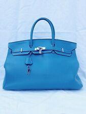 Sac Hermes 40 Birkin cuir taurillon clemence bleu Hermes birkin année 2009