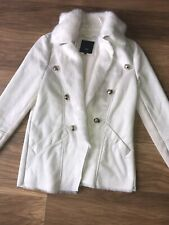 Ladies Size 10 River Island Faux Suede Fur Lined Cream Jacket Coat Fur Collar