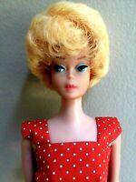 Breathtaking Vintage Lemon Bubblecut Barbie Wearing Mint Red Dotted Sheath!!