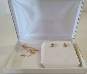 Aquamarine 10KT Yellow Gold Necklace and Earrings Set in gift box