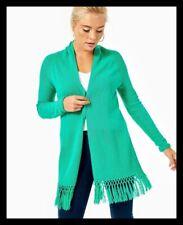 NWT Lilly Pulitzer Tatum Long Fringe Hem Cardigan Sweater Everglades Green XL