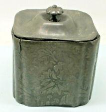 ANTIQUE VICTORIAN RF STURGES TEA CADDY POT BOX LIDDED FLOWER LEAF PATTERN PEWTER